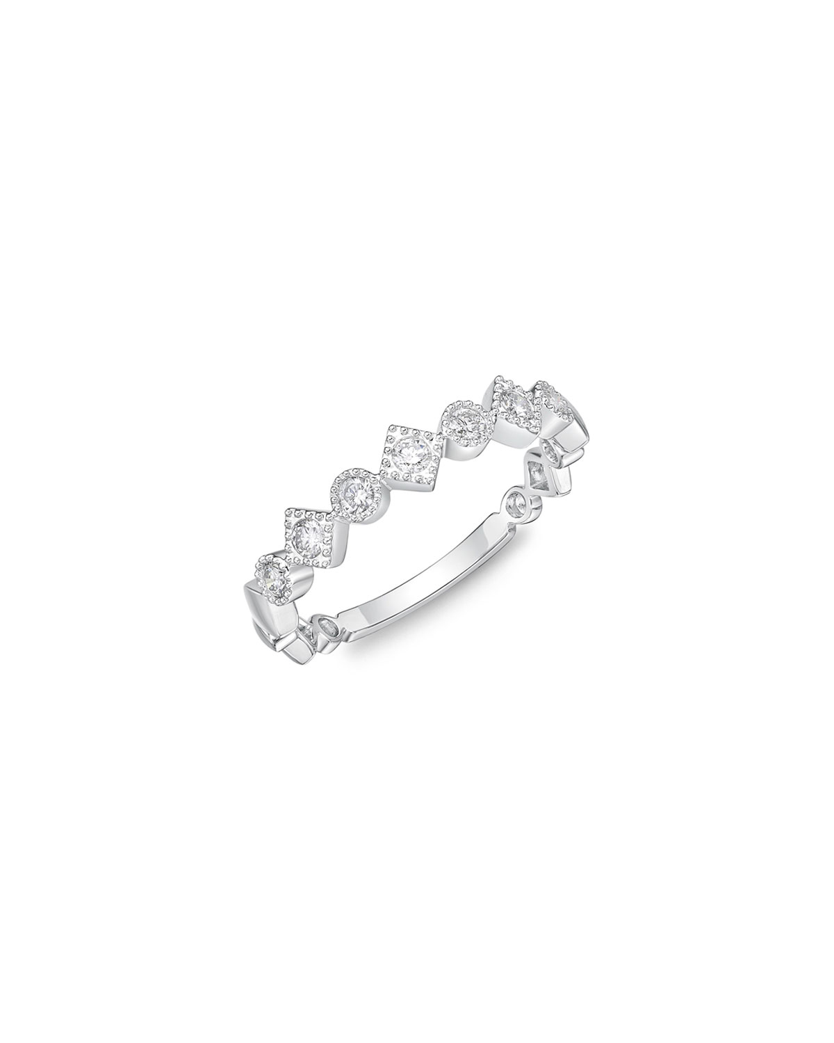 Stackables 18k White Gold Diamond Round & Square Ring