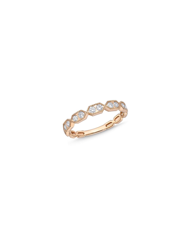 18k Rose Gold Diamond Half-Band Ring