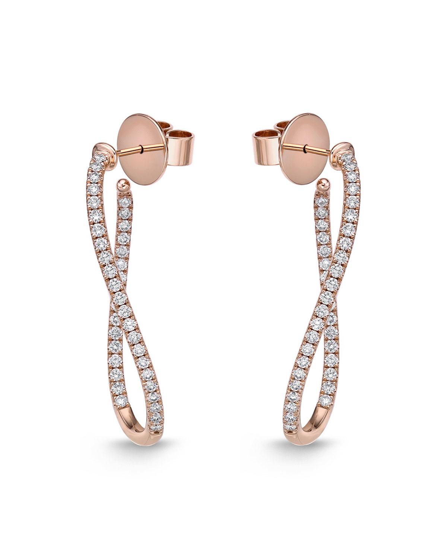 18k Rose Gold Diamond Oval-Twist Hoop Earrings