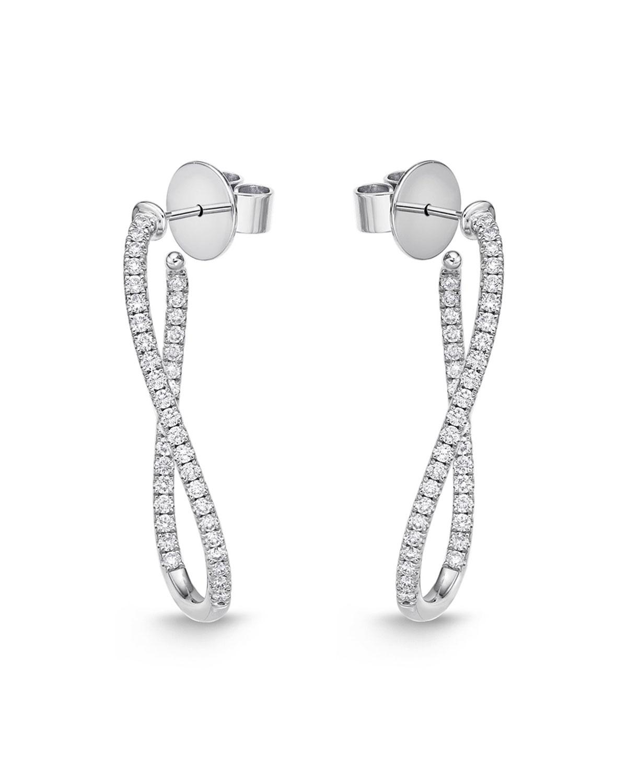 18k White Gold Diamond J-Twist Hoop Earrings