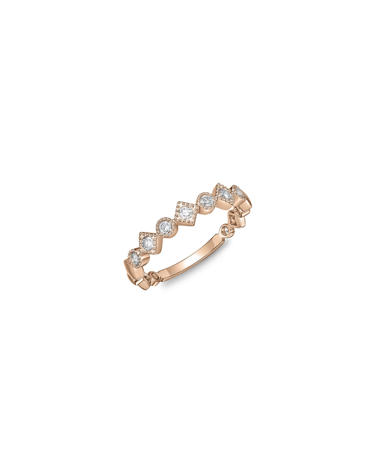 Stackables 18k Rose Gold Diamond Round & Square Ring