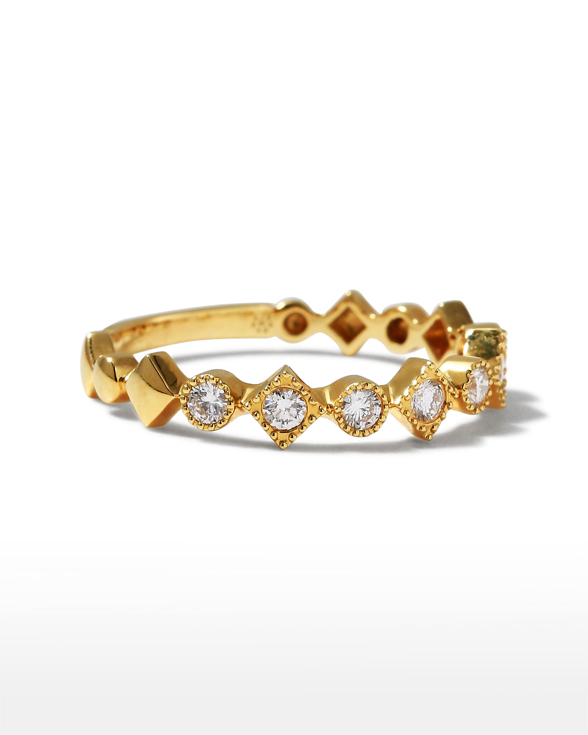 Stackables 18k Yellow Gold Diamond Round & Square Ring