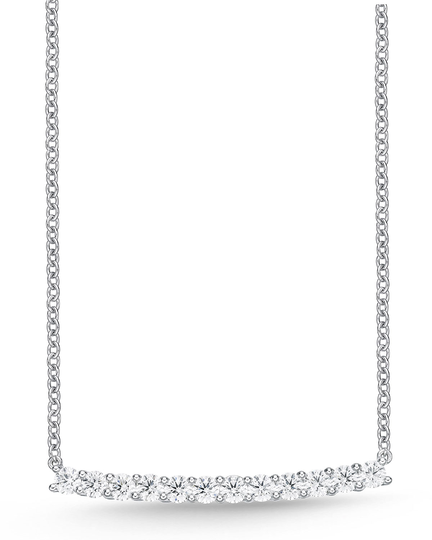 18k White Gold Diamond Bar Necklace