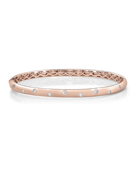 Memoire 18k Rose Gold 9-Diamond Oval Bangle