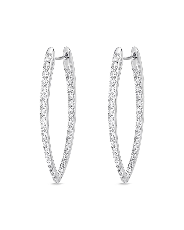 18k White Gold Diamond Imperial Hoop Earrings
