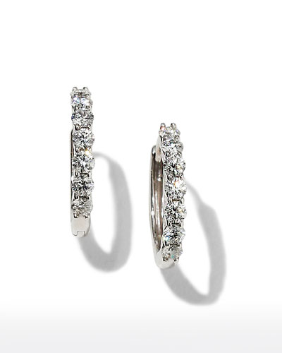 18k White Gold Tiny Diamond Huggie Hoop Earrings