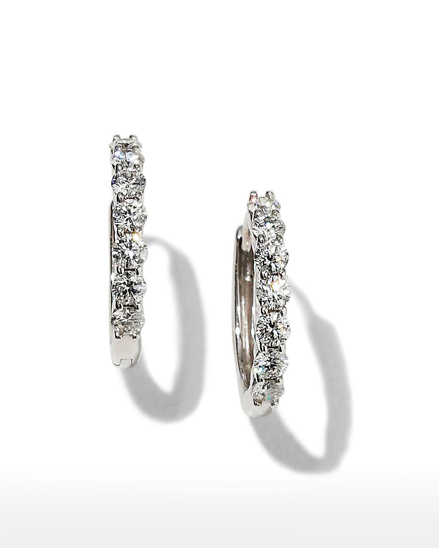 18k White Gold Tiny Diamond Huggie Hoop Earrings