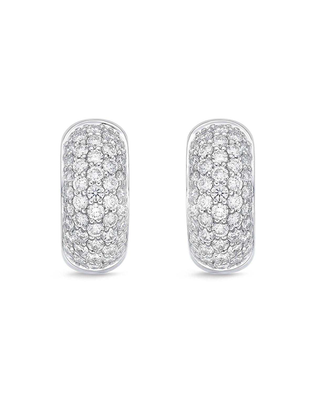 18k White Gold 5-Row Diamond Huggie Hoop Earrings