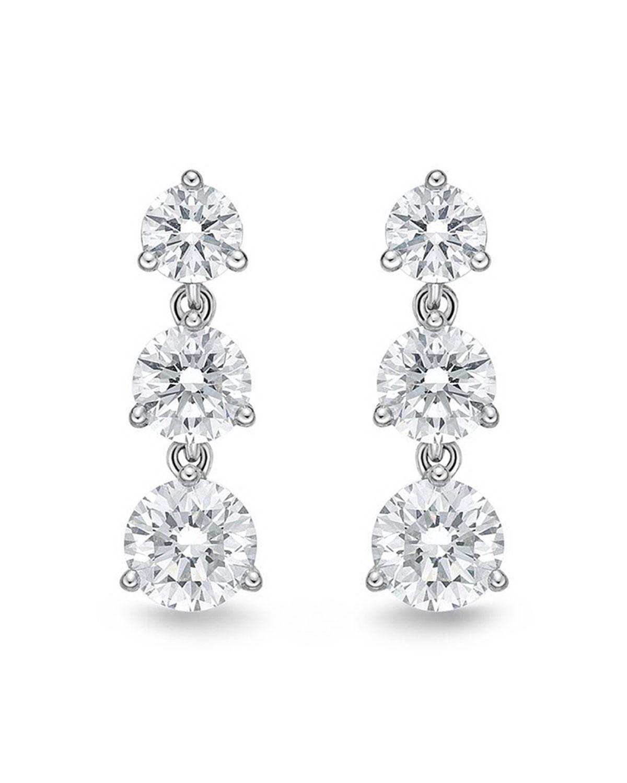 18k White Gold 3-Diamond Drop Earrings