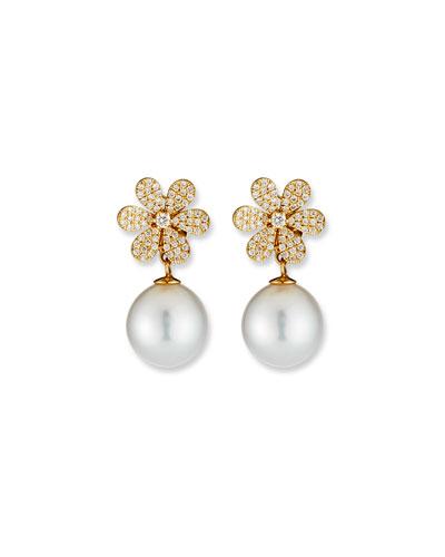 18k Diamond-Daisy Pearl-Drop Earrings