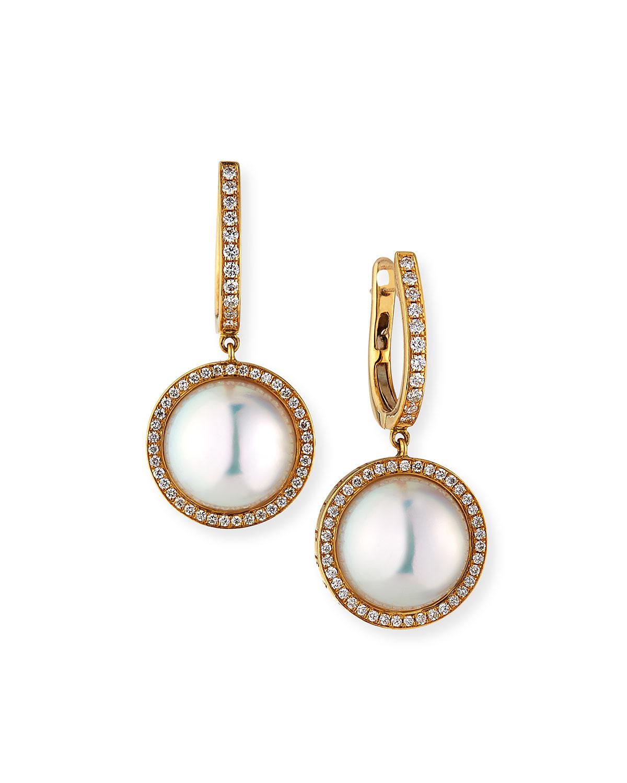 18k Pearl-Drop Diamond-Halo Earrings