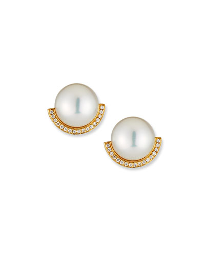 18k Pearl-Stud Diamond-Half Earrings