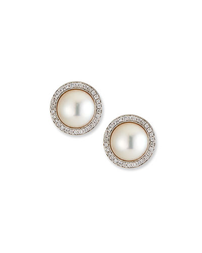 18k White Gold Pearl-Stud Diamond-Halo Earrings