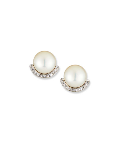 18k White Gold Pearl-Stud Diamond-Half Earrings