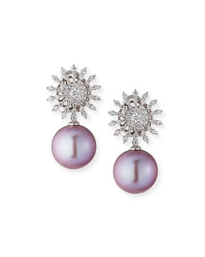 18k White Gold Diamond-Sun Pearl-Drop Earrings