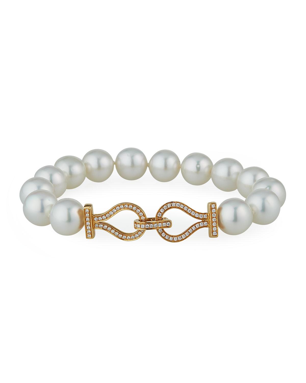 18k Diamond-Link Pearl Bracelet