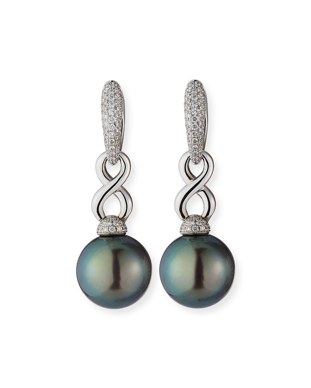 18k White Gold Diamond Infinity Pearl-Drop Earrings