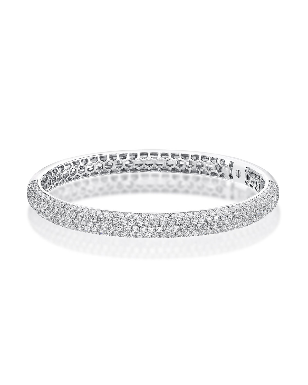 18k White Gold Diamond Pave Bangle