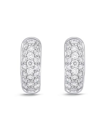 18k White Gold 3-Row Diamond Huggie Hoop Earrings