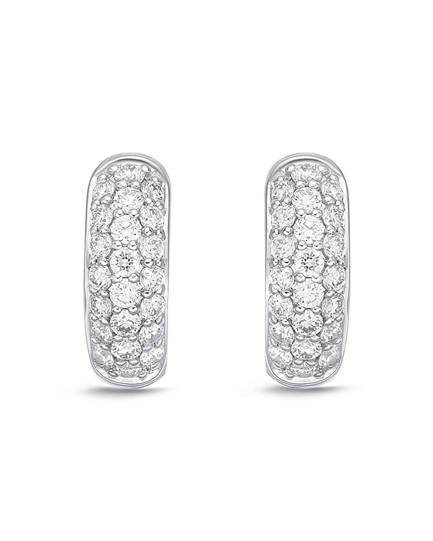 18k White Gold 3-Row Diamond Huggie Hoop Earrings