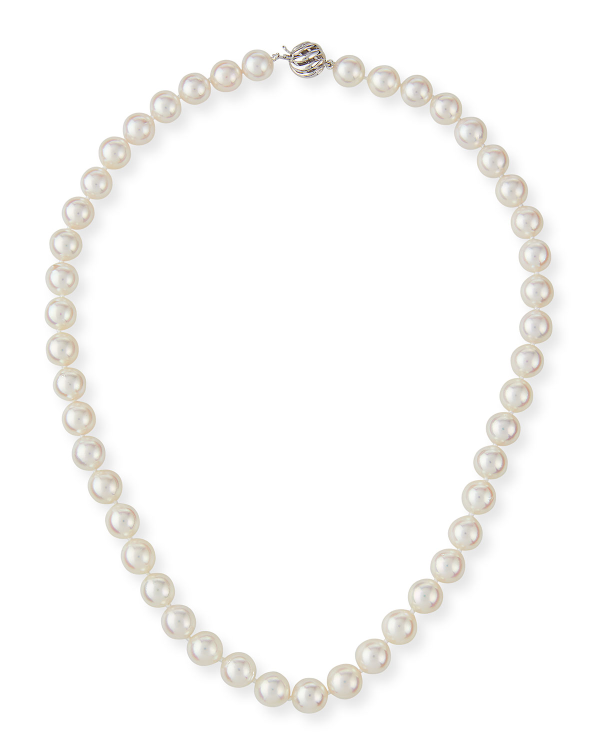 18k White Gold Classic Akoya Cultured Pearl Necklace