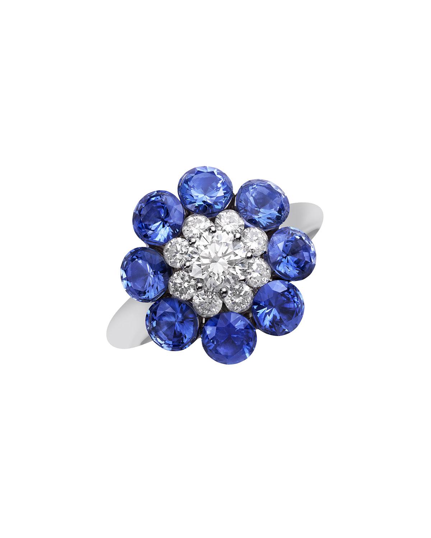 18k White Gold Diamond & Sapphire Magical Setting Ring