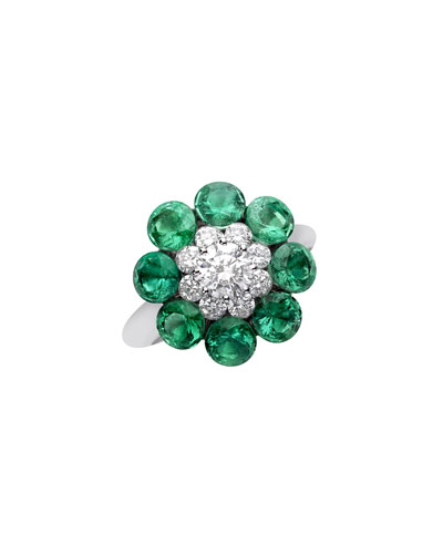 18k White Gold Diamond & Emerald Magical Setting Ring, Size 51