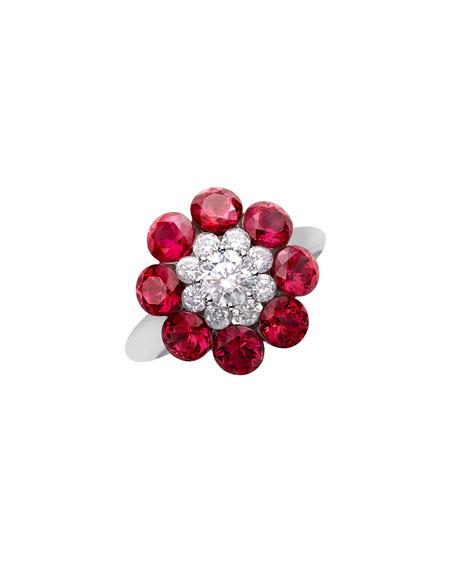 Chopard 18k White Gold Diamond & Ruby Magical Setting Ring, Size 51