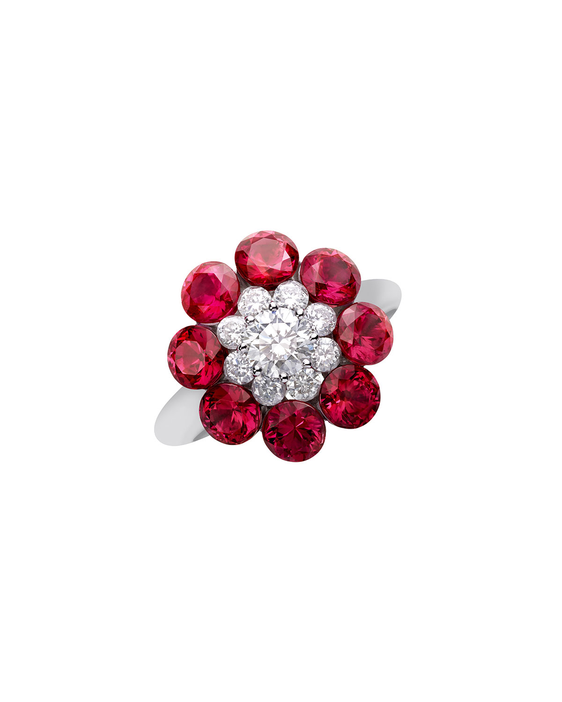 18k White Gold Diamond & Ruby Magical Setting Ring