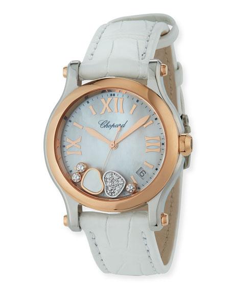 Chopard 36mm Happy Hearts Diamond Watch, White