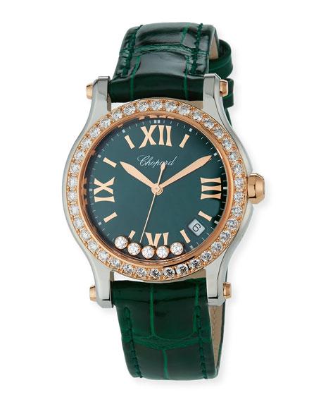Chopard 36mm Happy Sport Diamond Watch, Green