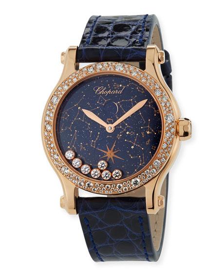 Chopard 36mm Happy Moon Watch in 18k Rose Gold