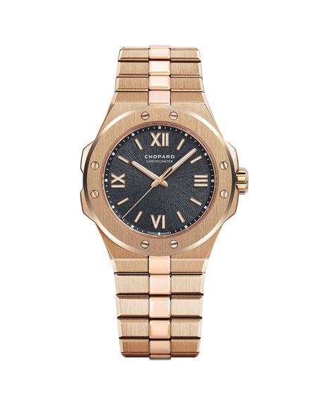 Chopard 36mm 18k Rose Gold Watch w/ Bracelet Strap, Gray