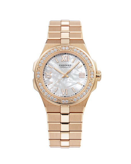 Chopard 36mm 18k Rose Gold Diamond Watch w/ Bracelet Strap
