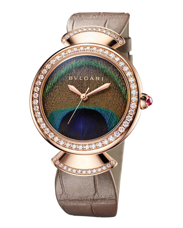 Divas' Dream Diamond Peacock Feather Watch with Alligator Strap