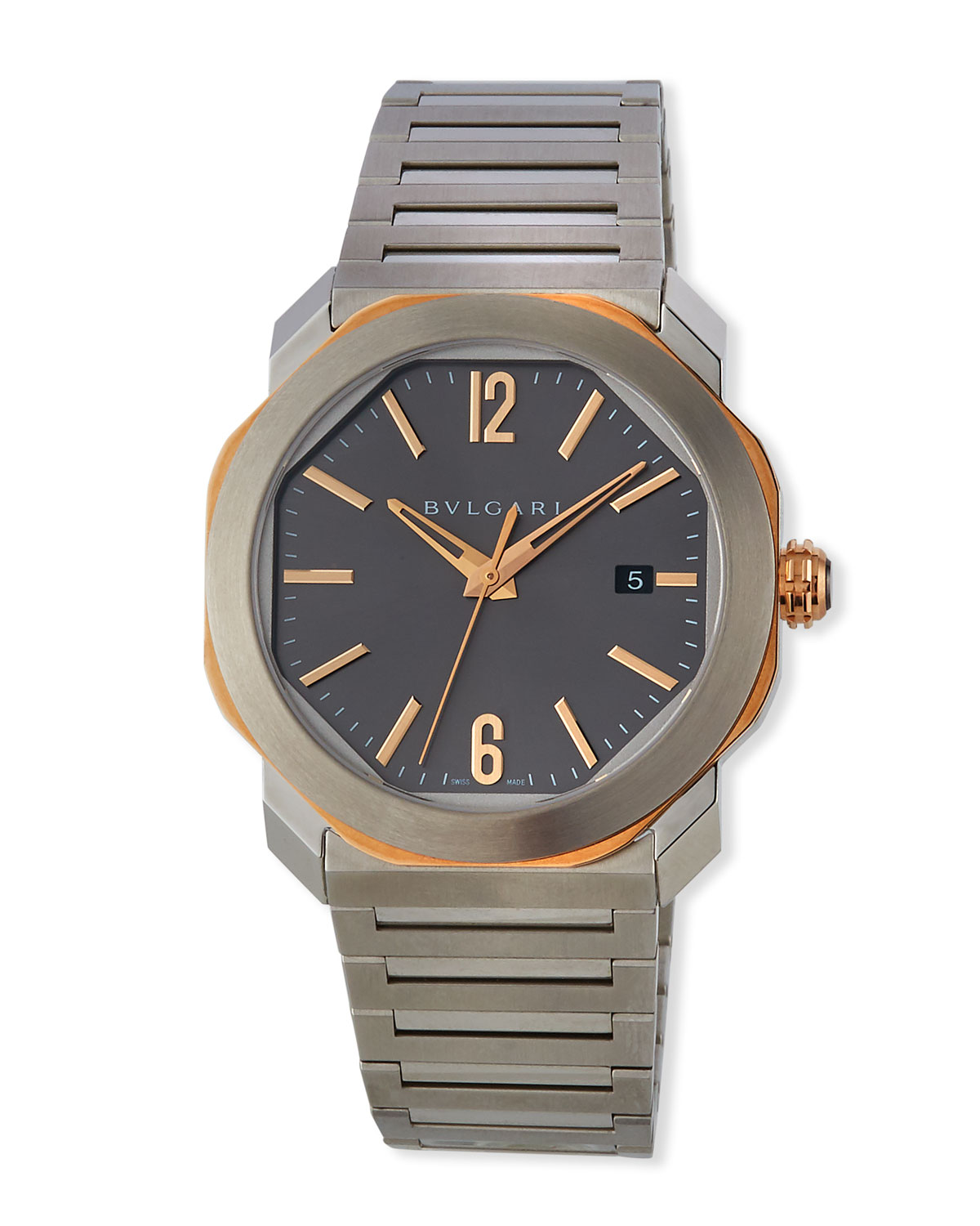 Men's 41mm Octo Roma Bracelet Watch with Date