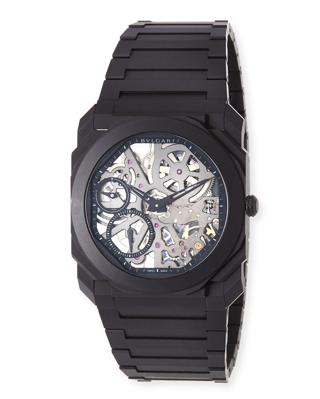 Men's Octo Finissimo Skeleton Bracelet Watch in Black Ceramic