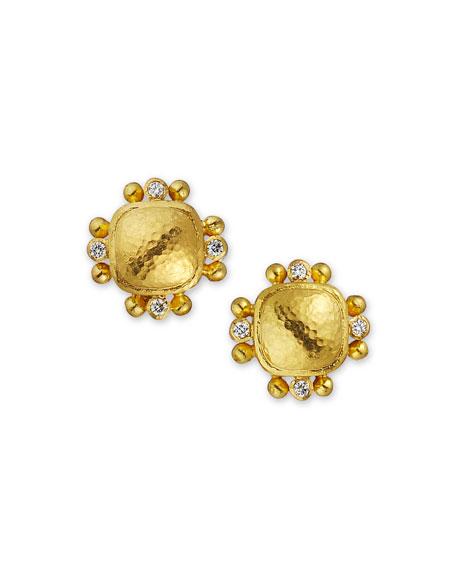 Elizabeth Locke 19k Domed Cushion Diamond-Trim Earrings