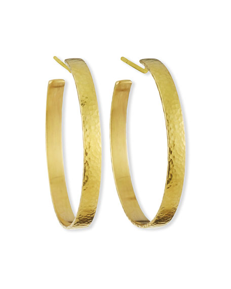 Elizabeth Locke 19k Flat Ribbon Hoop Earrings - 1.5""