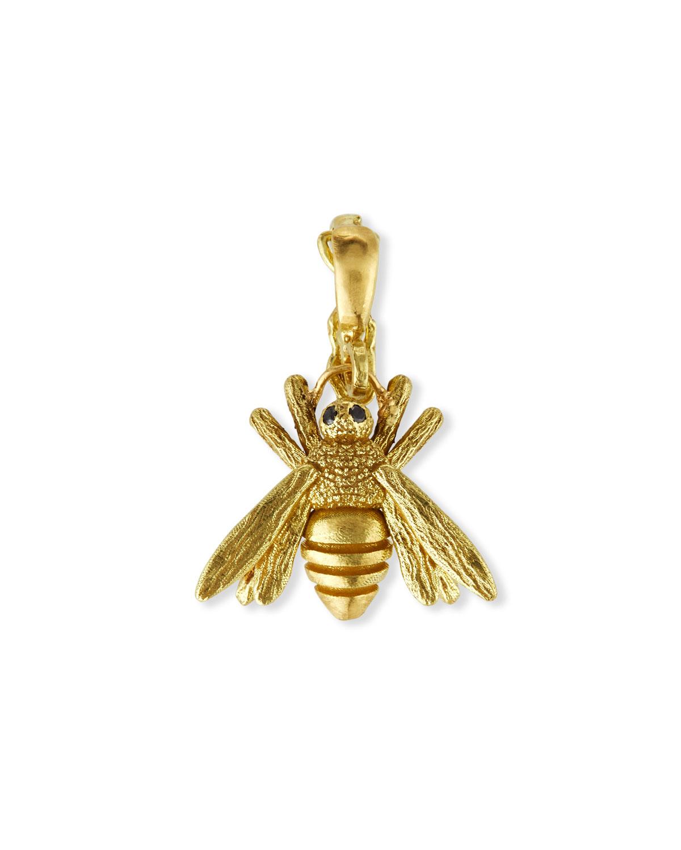 18k Yellow Gold Bee Charm with Black Diamonds