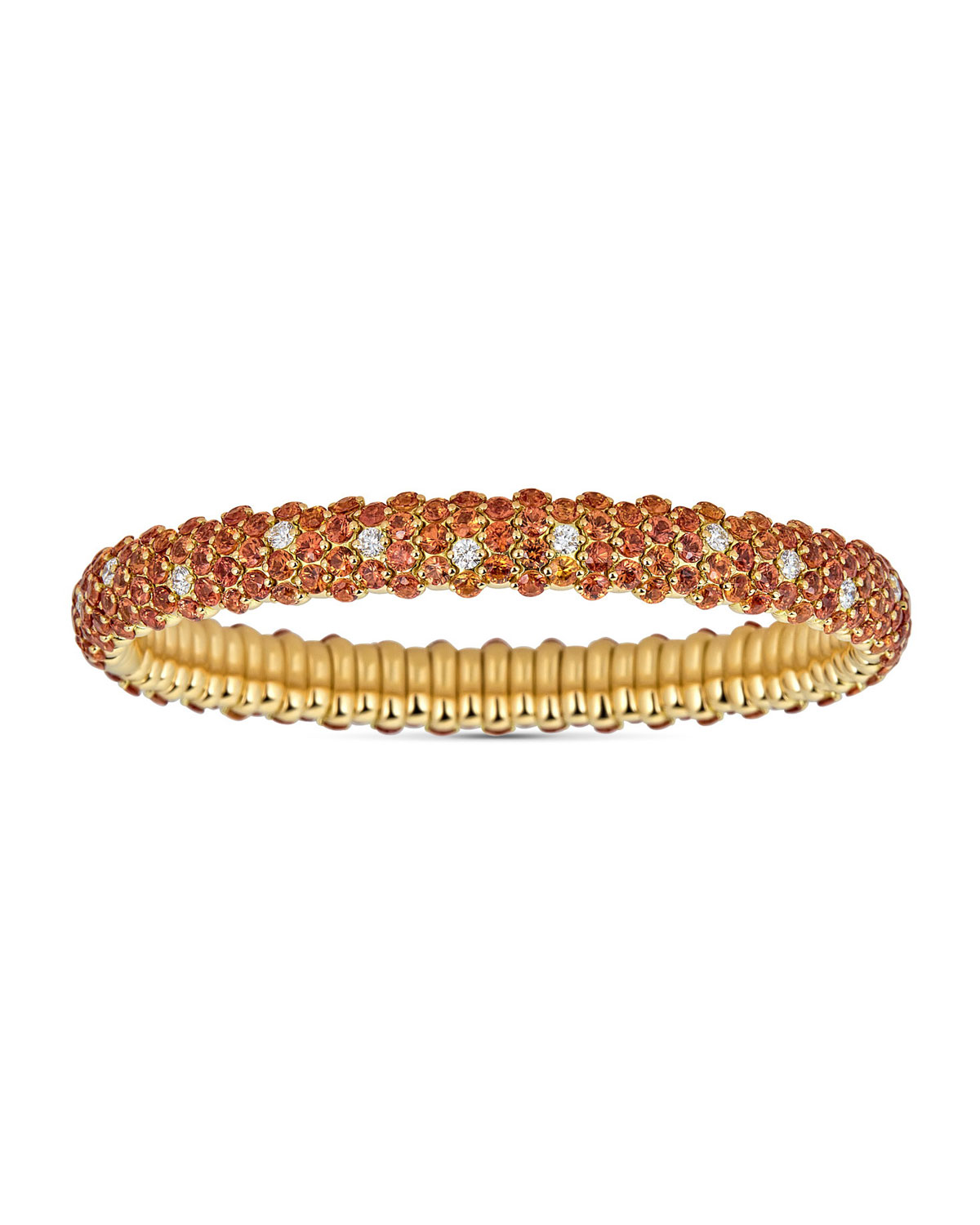 Luminal bracelet from ZYDO. 18-karat yellow gold frame. Round-cut white diamonds. 0.79 total carat weight. Slip-on style. Made in Italy.