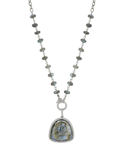 Carved Labradorite Buddha Necklace w/ Diamonds
