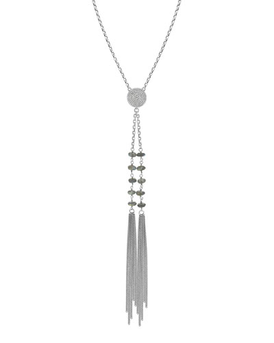 Long Diamond Disc Two-Tassel Necklace