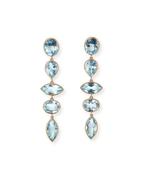 Etho Maria 18k Pink Gold Blue Topaz Dangle Earrings