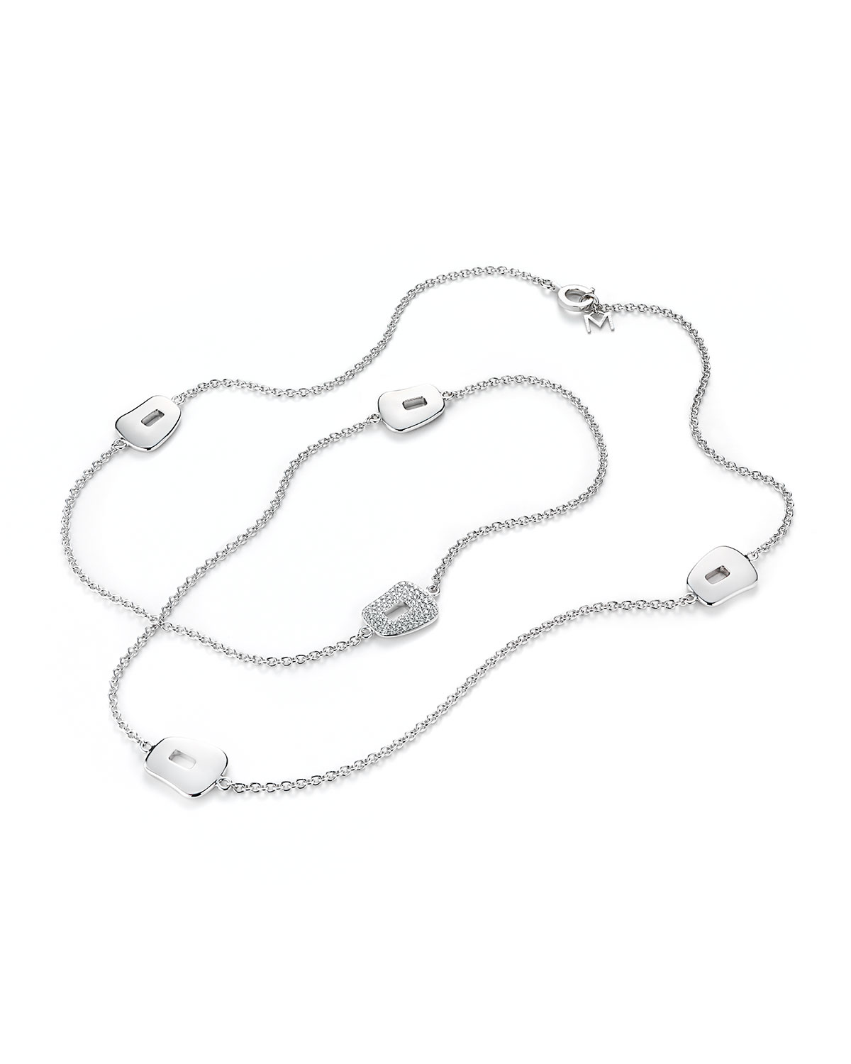 Puzzle 18K White Gold Necklace with Diamond Station