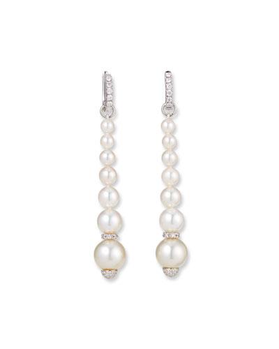 18k White Gold Elegant Dangling Diamond Pearl Earrings