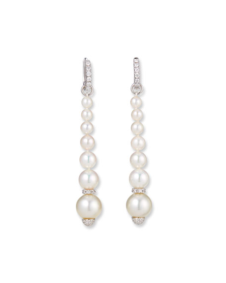 Belpearl 18k White Gold Elegant Dangling Diamond Pearl Earrings