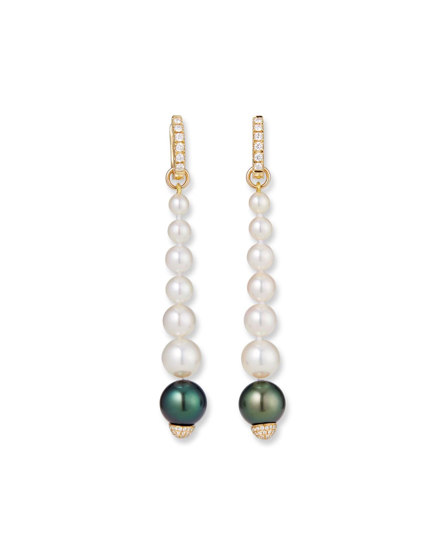 18k Elegant Dangling Diamond Pearl Earrings