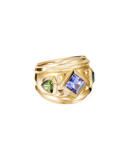 David Yurman 18k Bold Renaissance Wide Ring w/ Tanzanite & Green Tourmaline, Size 7