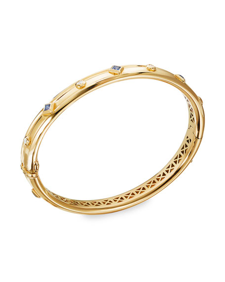 David Yurman Modern Renaissance 18k Diamond & Blue Sapphire Bracelet, Size L